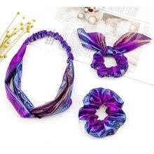Accessoires pour cheveux laser or chaud avec anneau   Lot de 3 pièces de cheveux, anneau grand orteil, oreilles de lapin, dégradé de couleur, couvre-chef