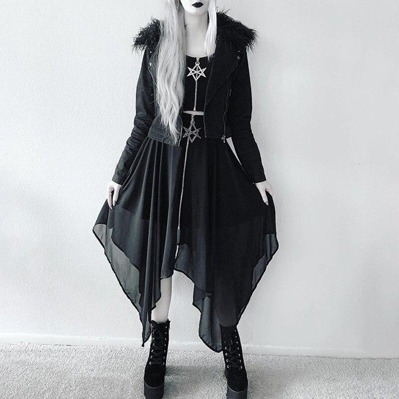 Negro oscuro gótico mujeres malla Irregular faldas largas estrella Hexagonal cremallera gótico Hipster gótico falda Coldness Metal 2020 Lolita señora