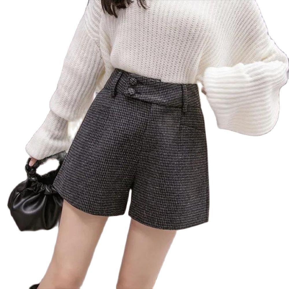 Tweed Woolen Shorts Women 2021 Autumn Winter High Waist Belted Elegant Short Pants All-Match Ladies Slim Plaid Breechcloth Outer