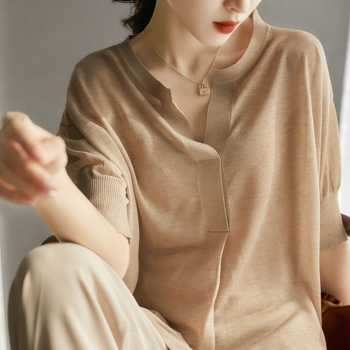 Thin knitwear 2021 new all-match love and lazy shape collar fine 16-needle micro-thin sweater women's summer