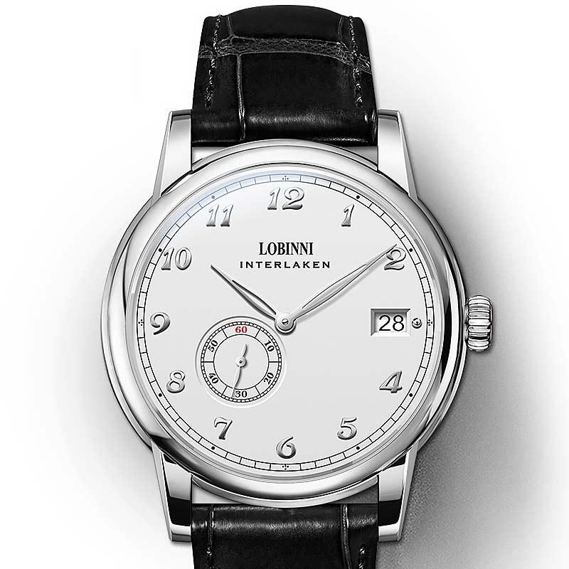 Lobinni هانغتشو 5000A مايكرو الدوار حركة الرجال ساعات أوتوماتيكية Menchical الذكور رقيقة جدا رجالي ساعة اليد الأعمال 1888