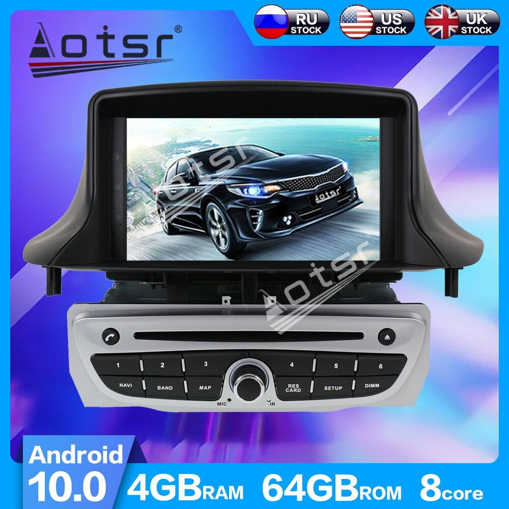 Aotsr kit automotivo android 10.0 px6, 4 + 64gb, navegação gps, rádio, player para renault megane 3/fluence 2009 + player multimídia