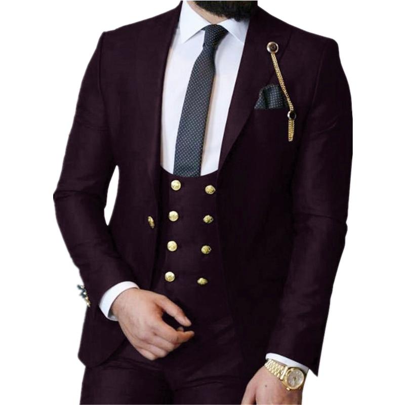 Handsome One Button Groomsmen Peak Lapel Groom Tuxedos  Men Suits Wedding/Prom/Dinner Best Blazer(Jacket+Pants+Vest+Tie) 398