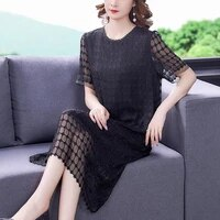echoine solid black plaid women dress plus size o neck short sleeves grid elegant formal party dresser one piece outfit