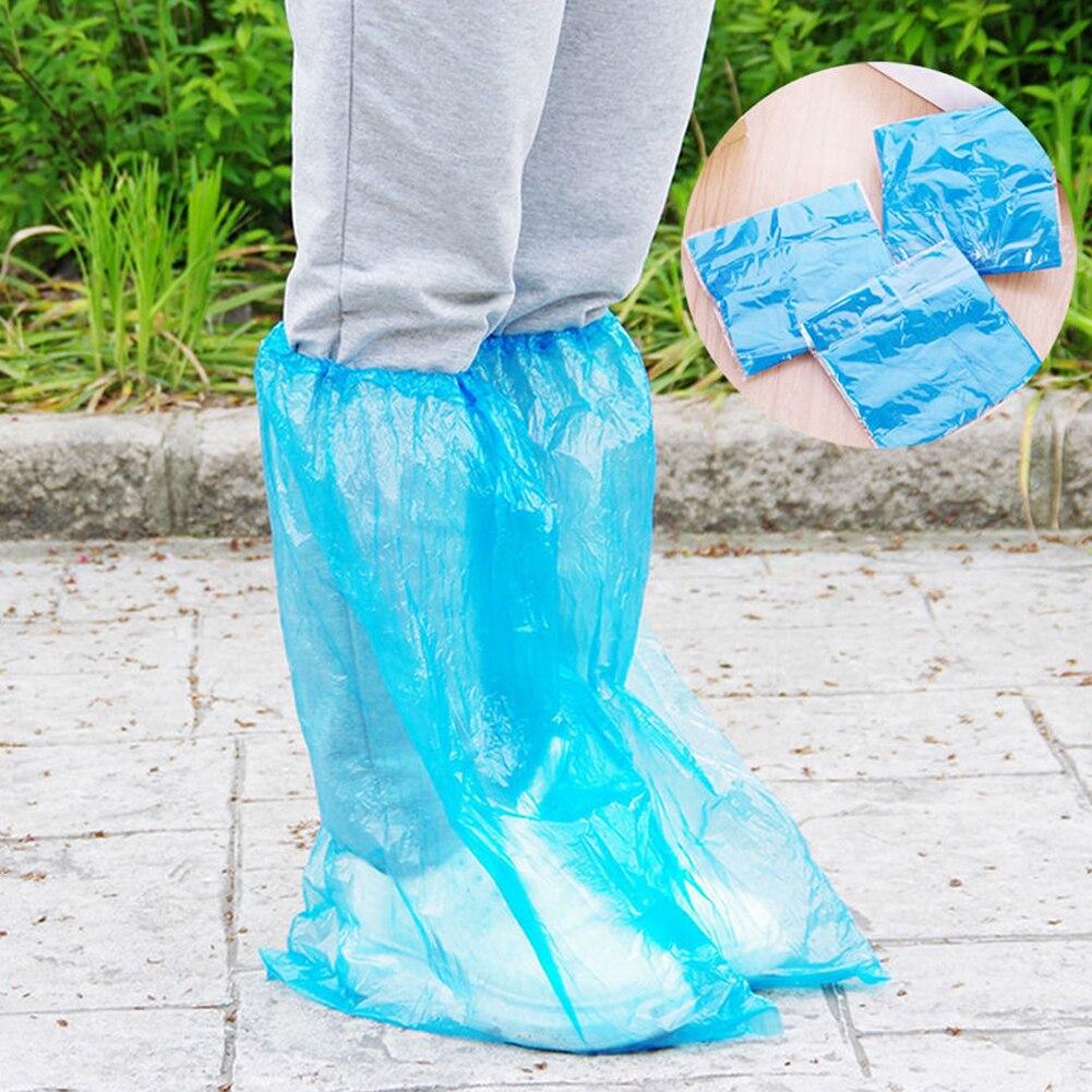 5 pares impermeable sólida bota Unisex azul desechable resistente al polvo al aire libre PP protector lluvia Anti deslizante zapato de caña alta cubierta