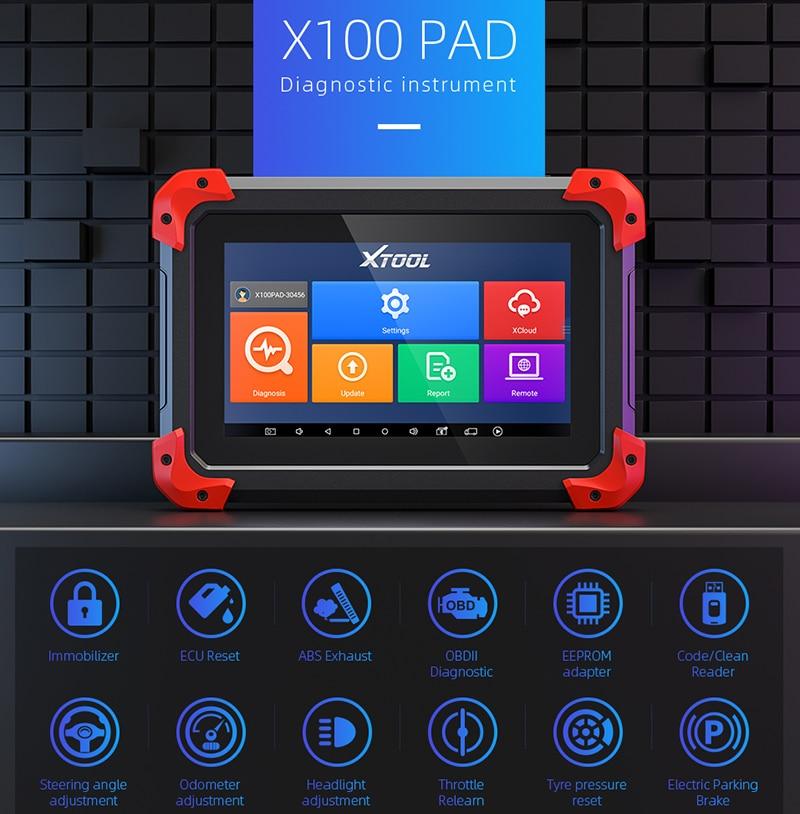 Xtool original x100 almofada programador chave do carro obd2 ferramenta de diagnóstico odômetro ajuste leitor código scanner ecu para ford atualização gratuita