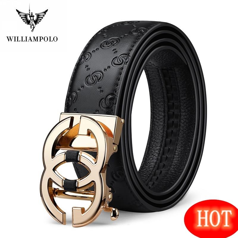 ويلياampolo حزام جلد طبيعي الرجال الفاخرة العلامة التجارية مصمم قمة الموضة أحزمة الجودة للرجال حزام الذكور مشبك معدني التلقائي