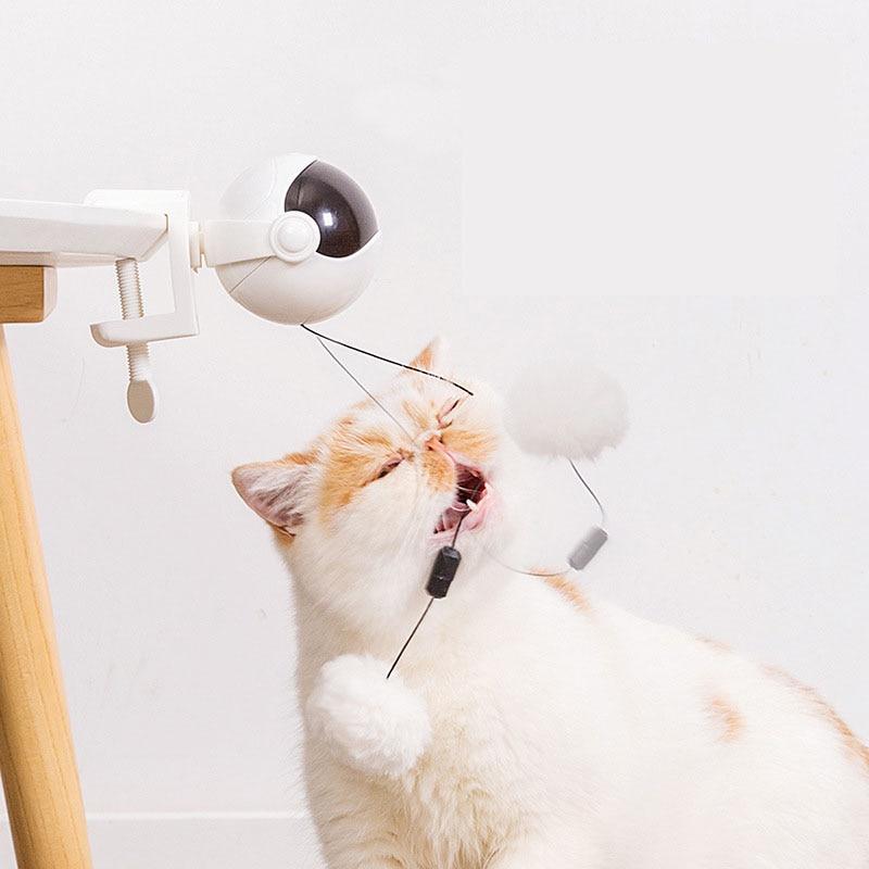 Забавный Кот Игрушка Мяч Электрический подъемный Кот интерактивные игрушки флаттер вращающийся подъемный автоматический тизер игра умные...