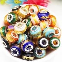 10pcs 16mm big round plastic resin new glitter large hole european beads fit pandora bracelet chain cord diy jewelry making gift