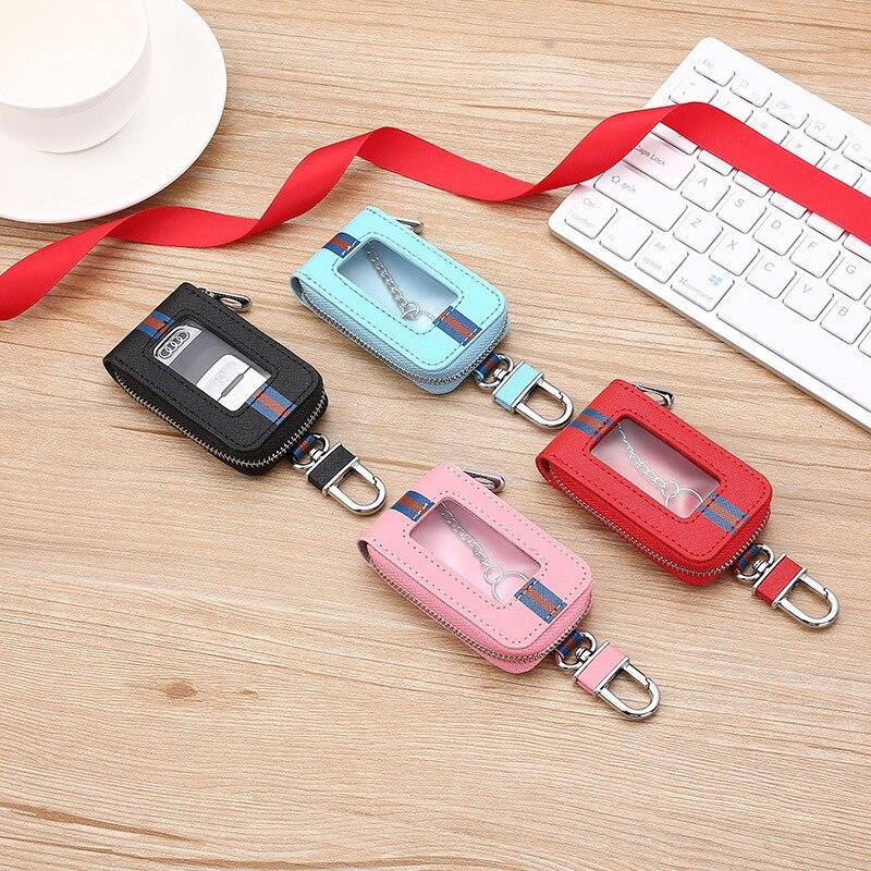 second layer пиджак 2021 Fashion Stripe Decoration Second Layer Cow Leather Buckle Design Car Key Holder Case