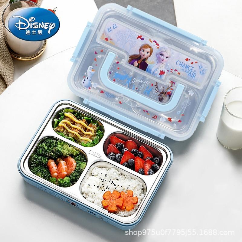 Disney Stainless Steel Lunch Box Children Eating Bento boy and girl Kids Baby With Lid Insulation Multi-divided Dinner Plate