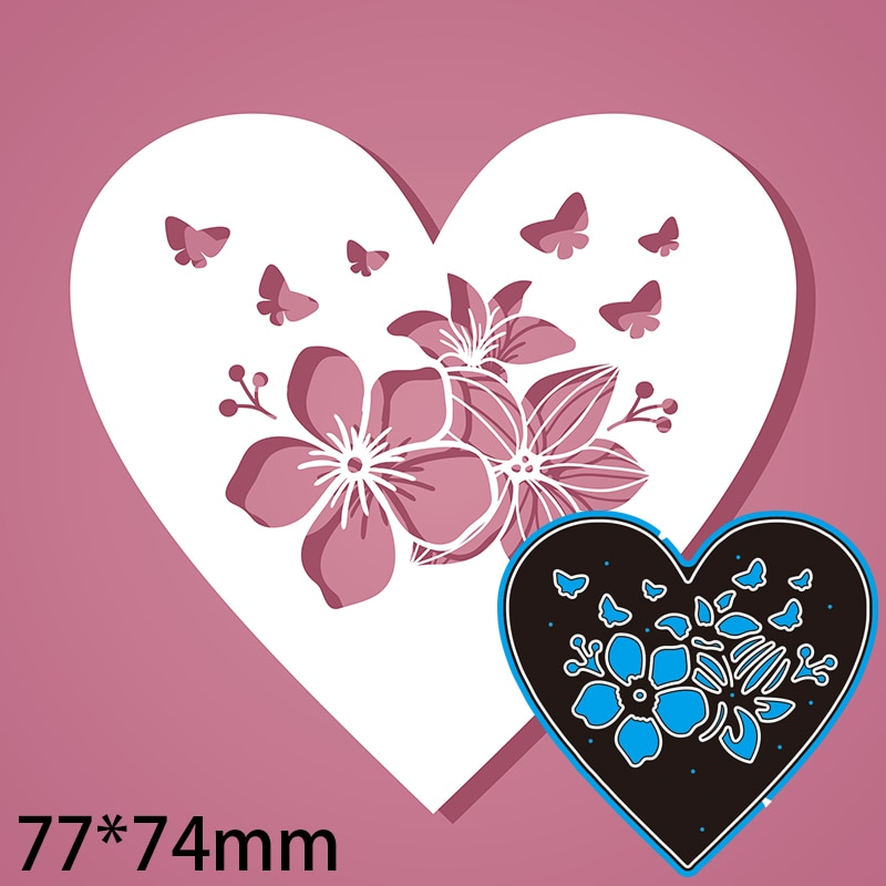 77*74mm Hollow Flower Heart Greeting card Decoration Cutting Dies DIY Scrap Booking Photo Album Embossing Paper Cards