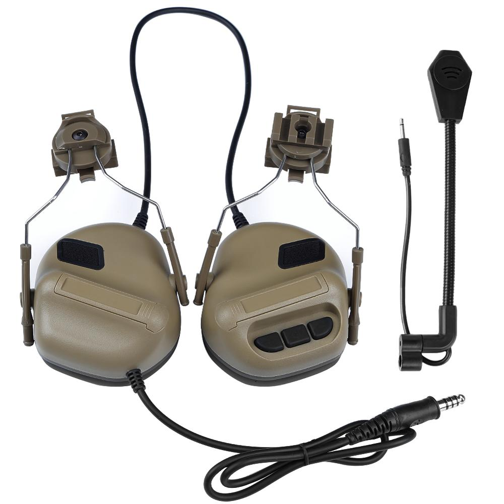 Helmet Mounted Tactical Headset Military Airsoft Headphones With Rail Adapter For Fast Helmet Hunting Communication Accessories enlarge