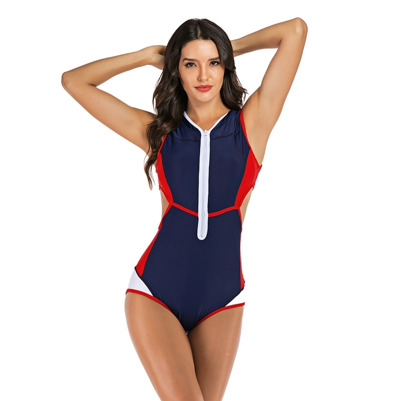 Nuevo traje de baño elástico de una pieza sin mangas con cremallera calado para mujer, traje de baño de primavera, traje de baño de buceo para surfear