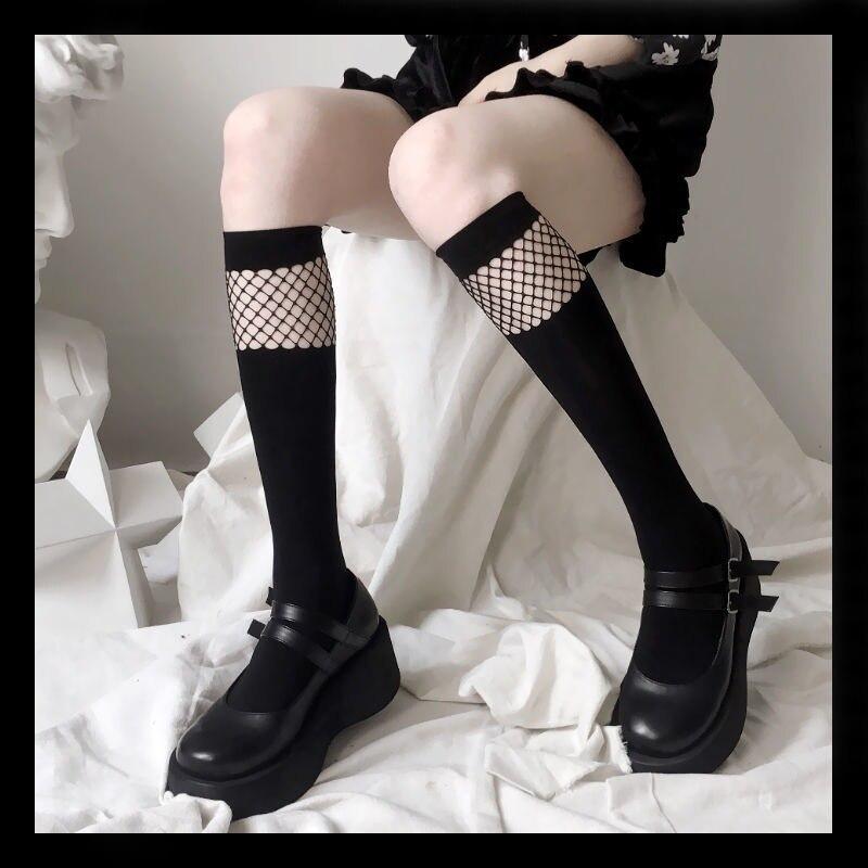 Модные длинные чулки, женские сетчатые чулки до колена в стиле пэчворк, женские черные чулки до бедра, платье для девочек, чулки