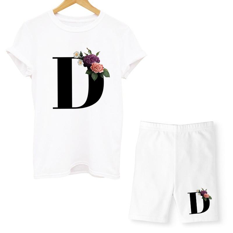 Женский комплект из футболки и шортов, повседневный комплект из двух предметов с надписью и круглым вырезом, велосипедные шорты с коротким ...