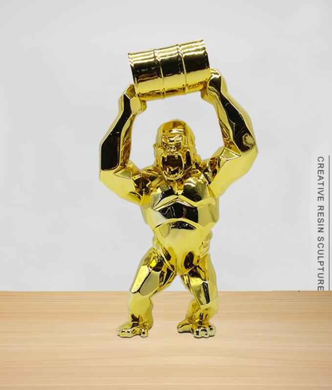 تمثال كينج كونج من الألياف الزجاجية ، تمثال غوريلا ، مصنوع من الألياف الزجاجية ، لون ذهبي ، ديكور منزلي ، إكسسوارات ديكور ، HHT 65 سنتيمتر