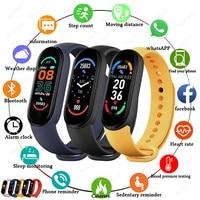 Смарт-часы Xiaomi 2021 M6 для мужчин и женщин, Bluetooth, умные часы, пульсометр, фитнес, отслеживание, спортивный браслет для Apple, Xiaomi, часы на Android