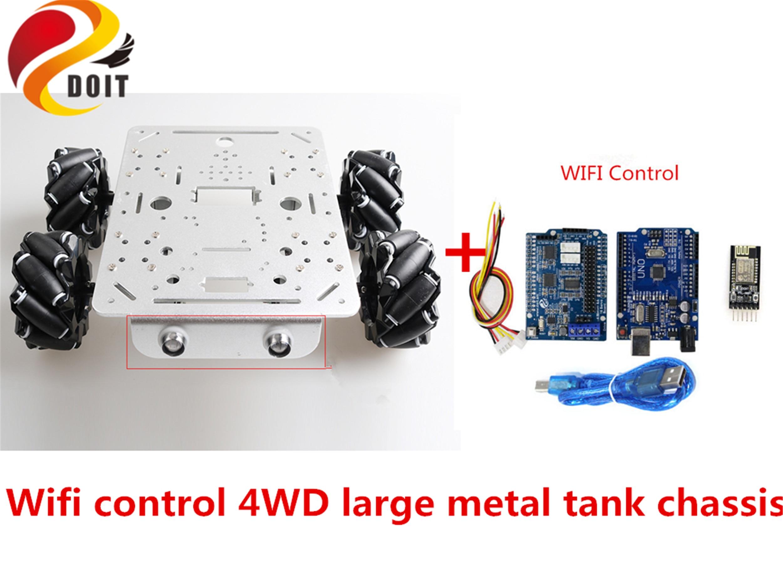 SZDOIT Wifi/Bluetooth/mango Control 4WD de Metal grande RC Robot chasis de tanque de 80mm McNammS rueda Omni DC Motor para bricolaje Arduino