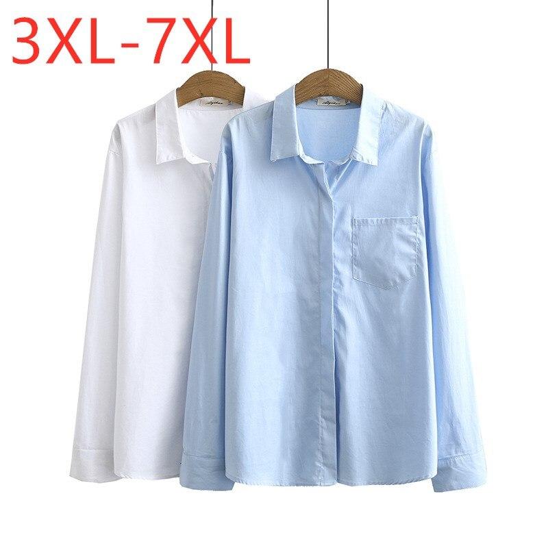 Neue herbst winter damen plus größe tops für frauen große bluse langarm lose weiß formale arbeit baumwolle hemd 3XL 4XL 5XL 6XL