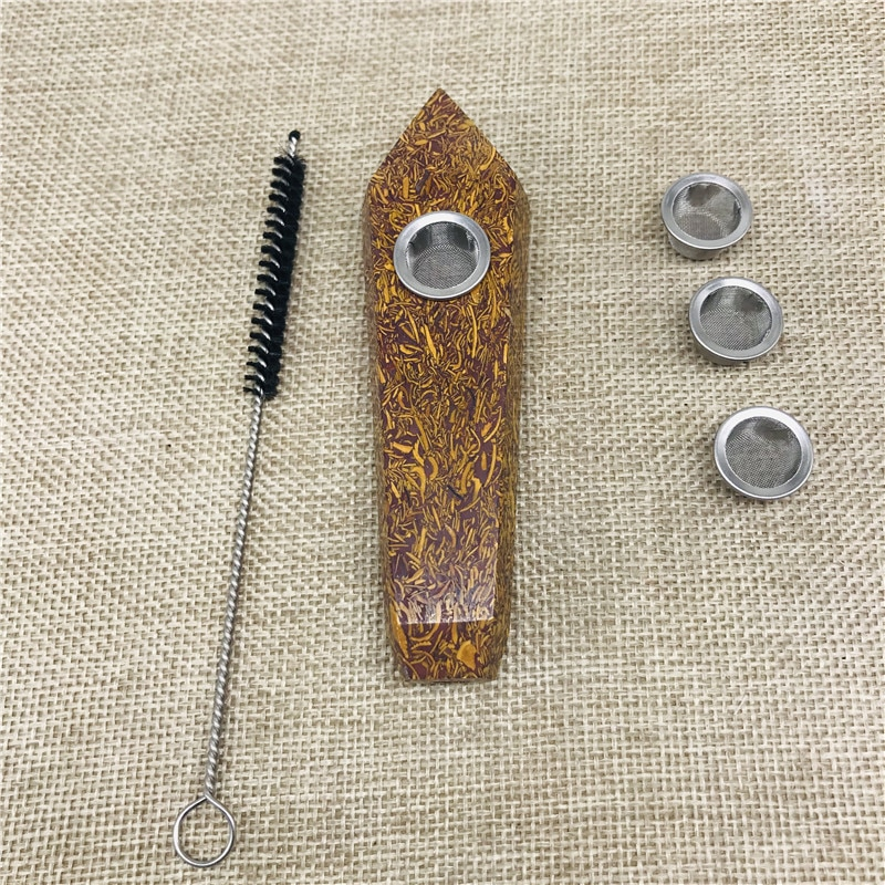 Natural claro quartzo ouro jade cristal cigarro titular tubo de fumo