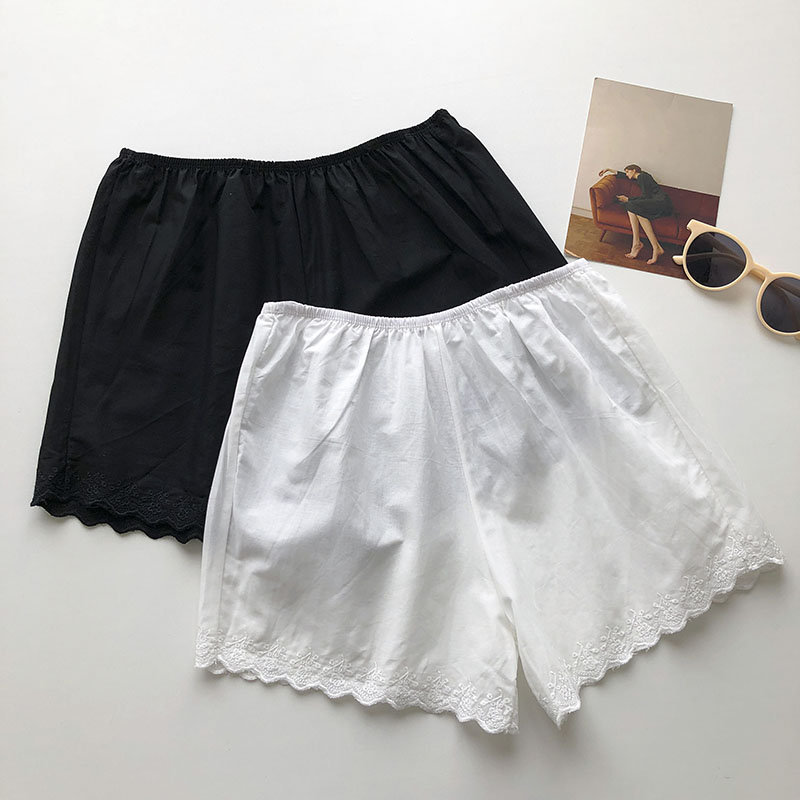 Thin Anti-Exposure Lace Shorts 2021 New Summer Female Student All-Matching Elastic Waist White Botto