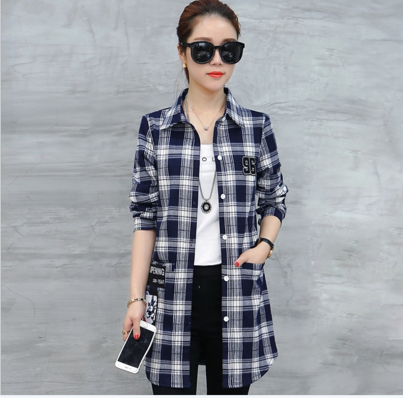 2021 plus size women's clothing plaid shirt new women's Korean style mid-length loose shirt jacket long-sleeved top