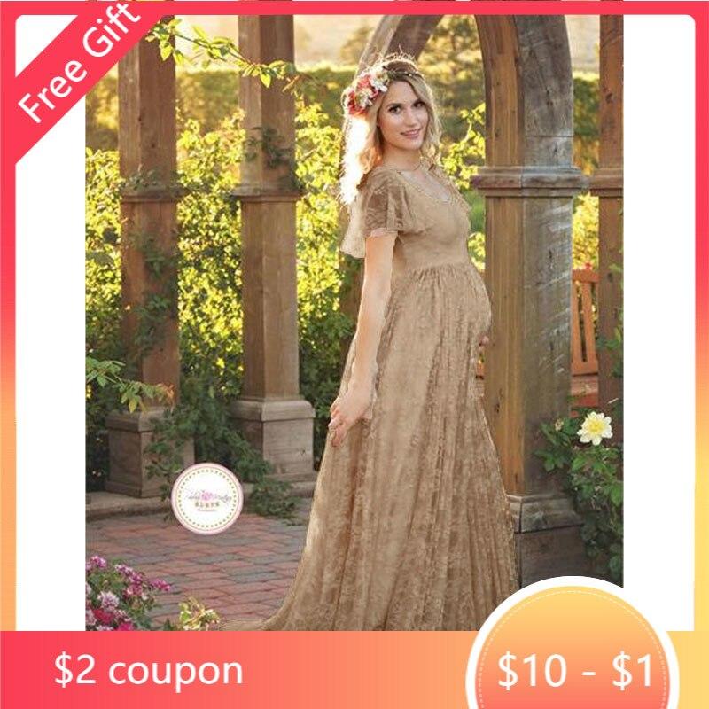 Платье для беременных, макси-платье, платья для беременных для фотосъемки, кружевная Одежда для беременных женщин, платье для беременных