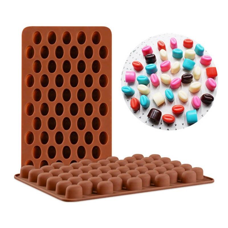 1 Uds. Molde de Fondant para pasteles, Gadgets de cocina, accesorios de horneado, herramientas de decoración de tartas de grado alimenticio, molde de silicona para Chocolate 55 cavidades