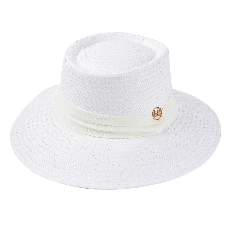 USPOP Straw sun hats wide brim beach hat  summer hats letter M ribbon sun hats