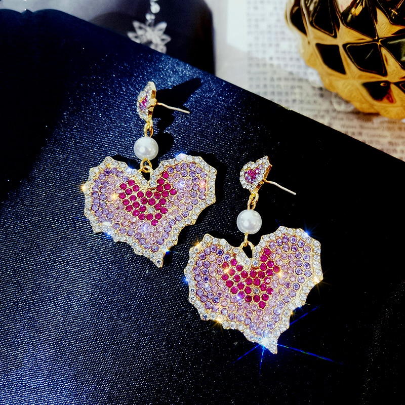 Forma de la hoja de arce pendientes pavimentados AAA Zirconia piedra moda mujer joyería boda pendientes colgantes de fiesta chapado de alta calidad