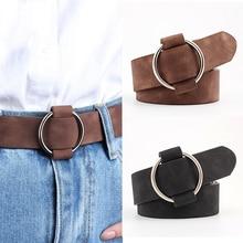Genuine Quality Ladies Fashion Latest Needle-free Metal Round Buckle Belt Jeans Wild Luxury Brand Th