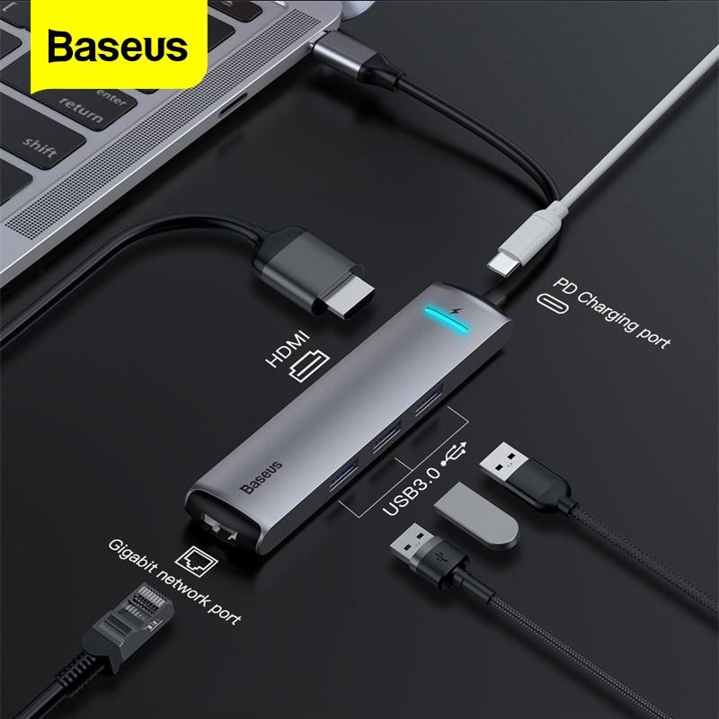 Baseus USB C HUB to HDMI RJ45 USB 3.0 Type C PD Charging HUB Adapter For MacBook Pro Huawei Mate 20 P20 Pro USB C HUB Adapter