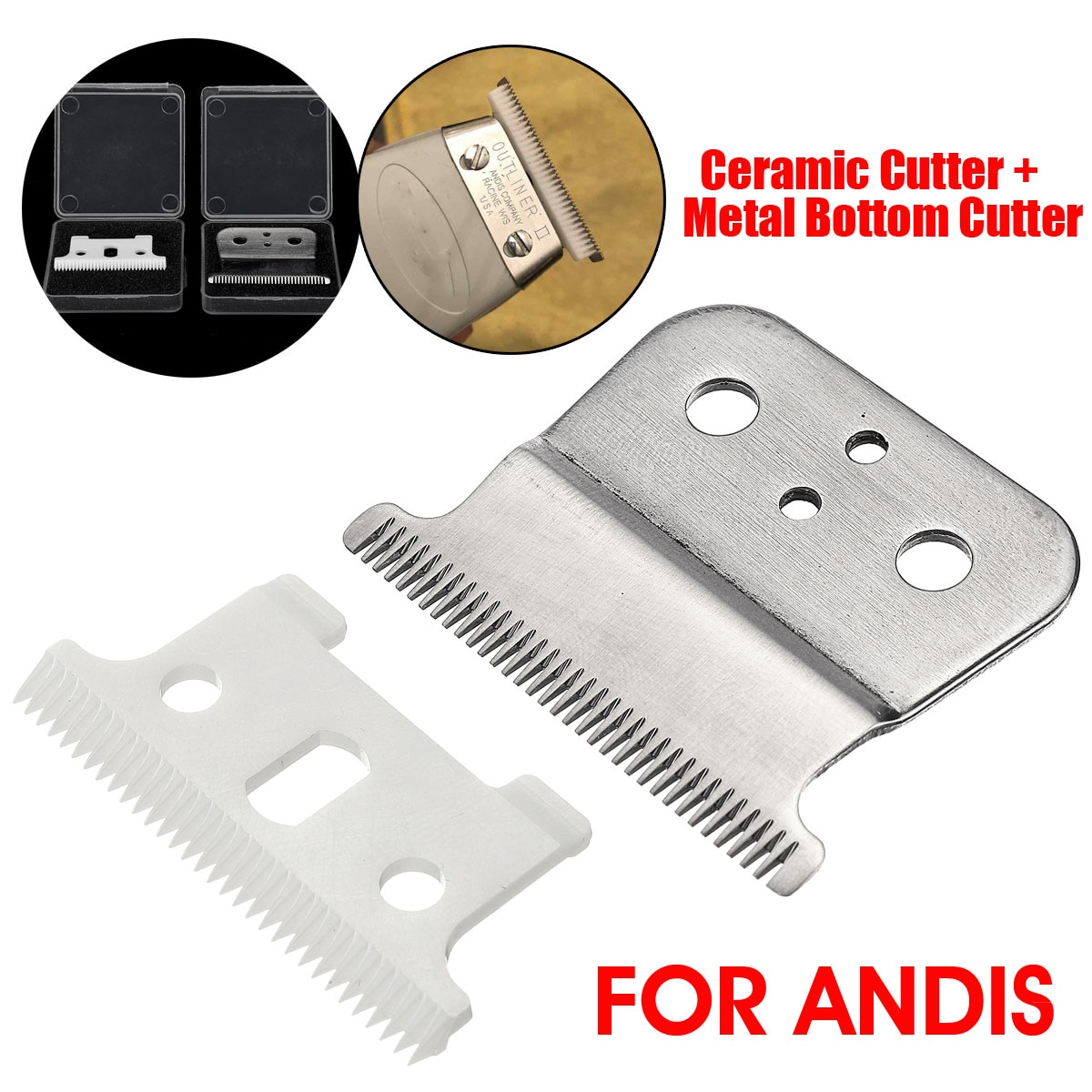 2pcs Ceramic Cutter + Metal Bottom Cutter For Andis Electric Hair Trimmer Replacement Blade For Wahl Electric Hair Clipper Blade