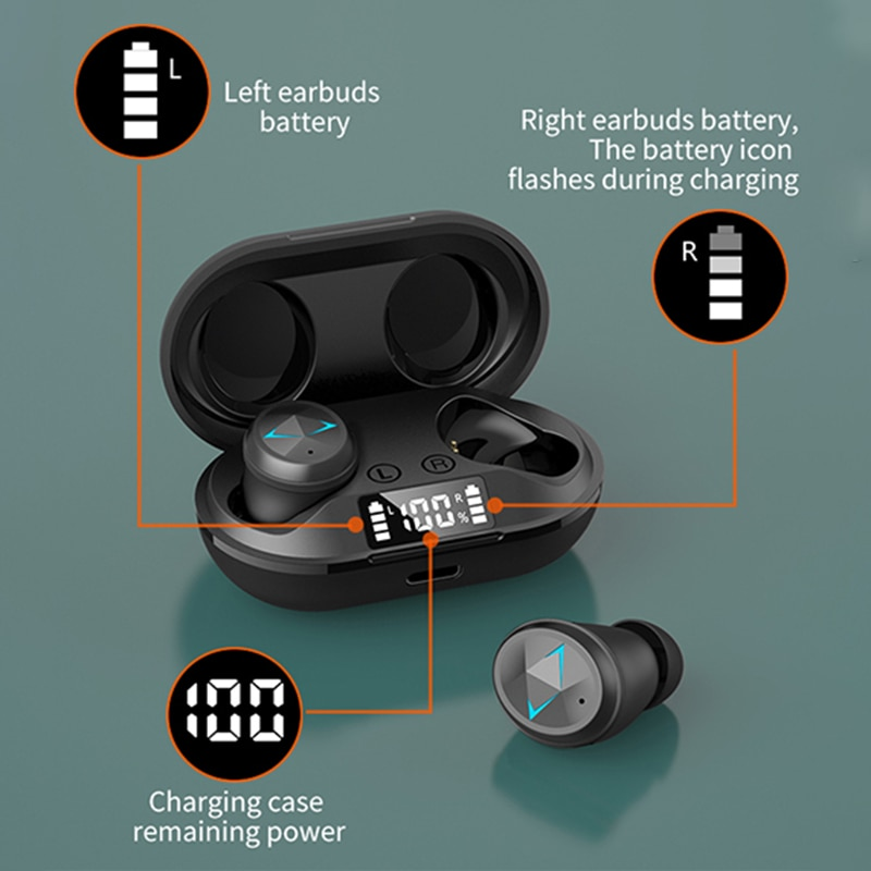 TWS Bluetooth 5,0 Kopfhörer Mit Mikrofon LED-Display Drahtlose Bluetooth Ohrhörer Ohrhörer Wasserdicht Noise Cancelling Headset