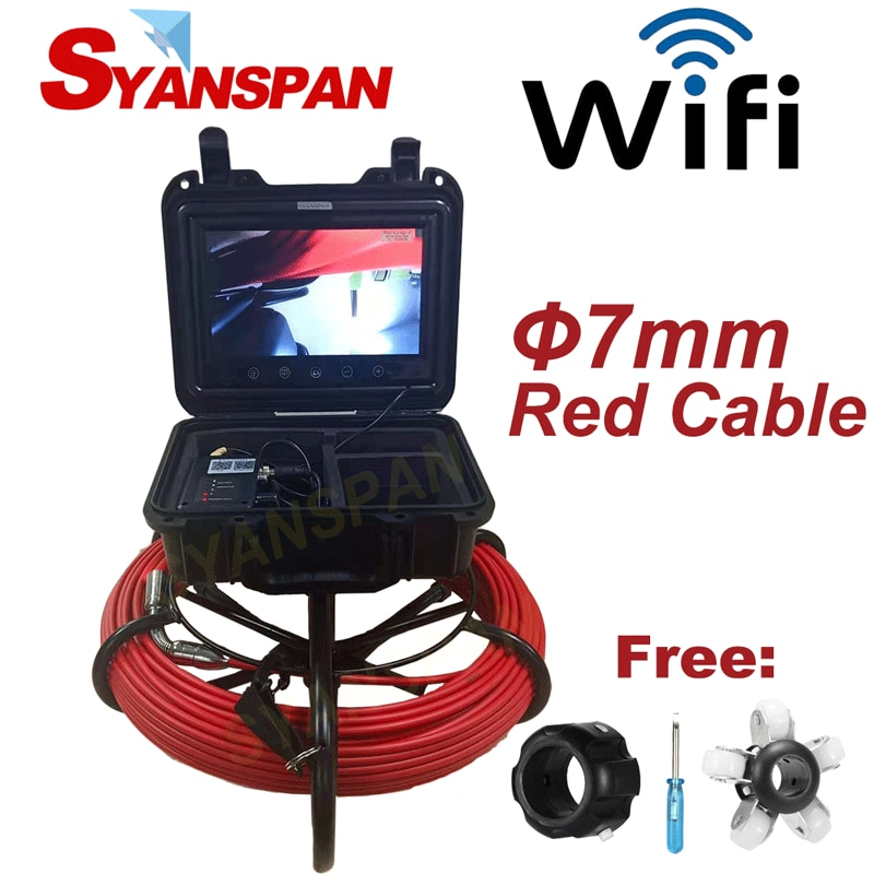 Get 7mm in Diameter Red Wire 20-50M SYANSPAN Wireless Wi-Fi Pipe Inspection Video Camera,Drain Sewer Pipeline Industrial Endoscope