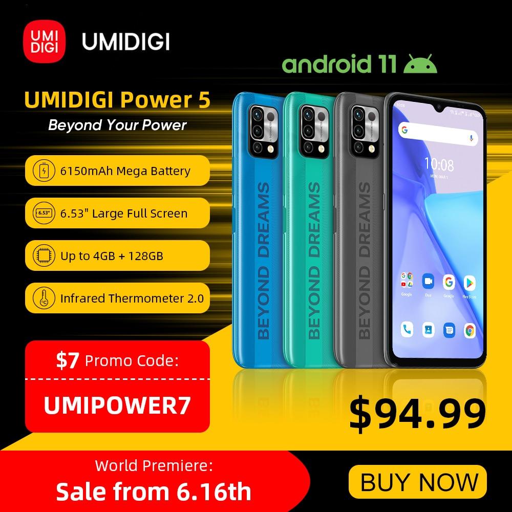 Перейти на Алиэкспресс и купить [Мировая премьера] UMIDIGI Мощность 5 глобальная версия смартфона Android 11 Helio G25 16MP AI тройной Камера 6150 мА/ч, 6,53 ''Full Экран