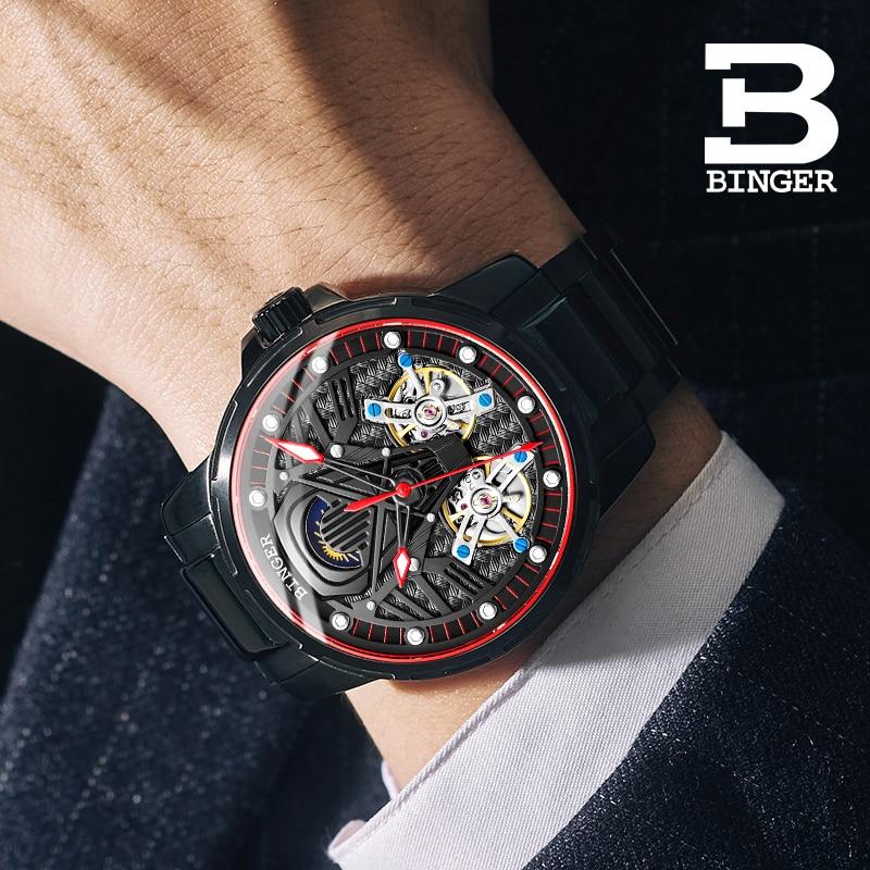 Switzerland BINGER Watch Men Automatic Mechanical Luxury Brand Men Watches Sapphire Men Watch tourbillon relogio masculino B116G enlarge