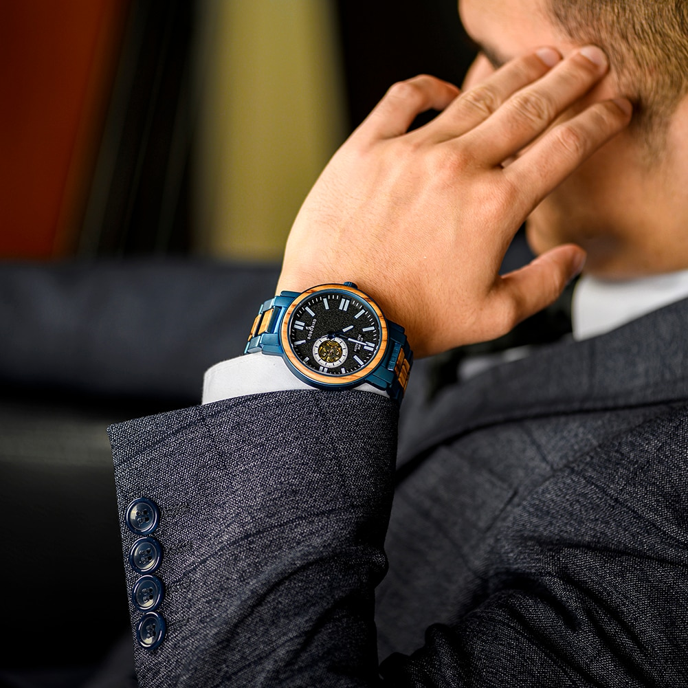 BOBO BIRD-ساعة يد رجالية ميكانيكية أوتوماتيكية من الخشب والفولاذ المقاوم للصدأ ، 2021