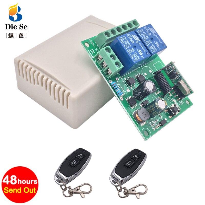 433Mhz Fernbedienung Schalter für Licht, Tür, garage Universal-fernbedienung AC 85V ~ 250V 110V 220V 2CH Relais Empfänger und Controller