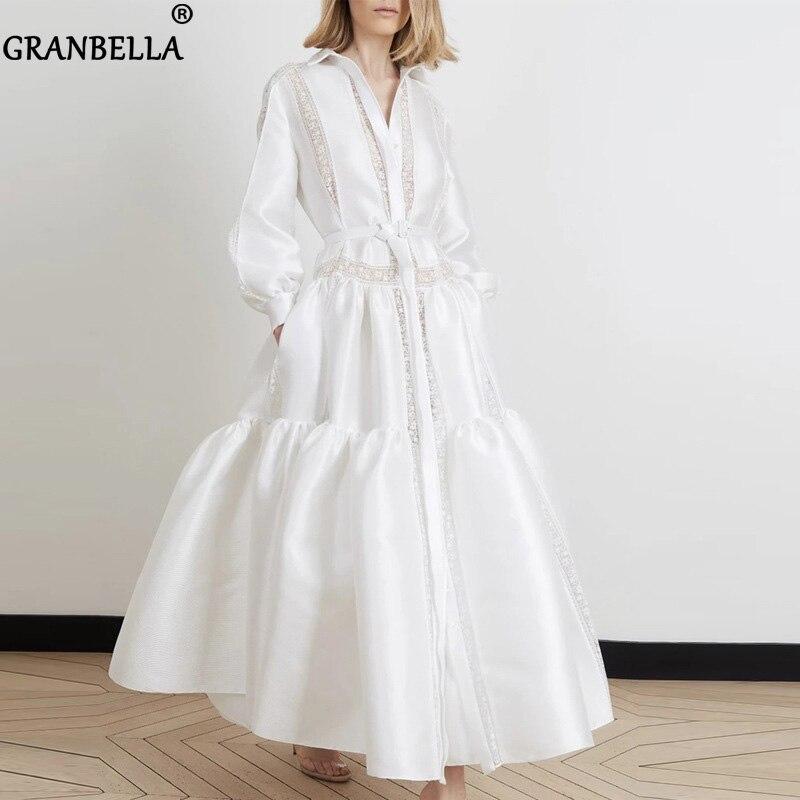 Vestido largo con cinturón de mujer, vestido sexi blanco con manga linterna y encaje de pico profundo, vestido largo bajo ancho de mujer para otoño