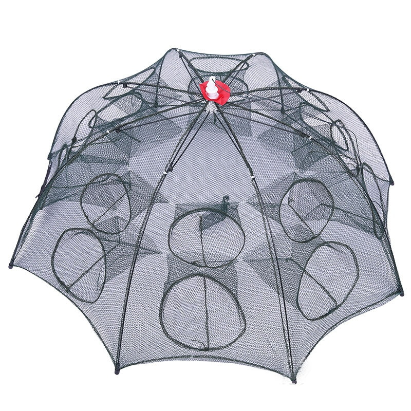 4-16 Holes Automatic Umbrella Fishing Net Shrimp Cage Nylon Foldable Crab Fish Trap Cast Net Cast Folding Fishing Network Mesh