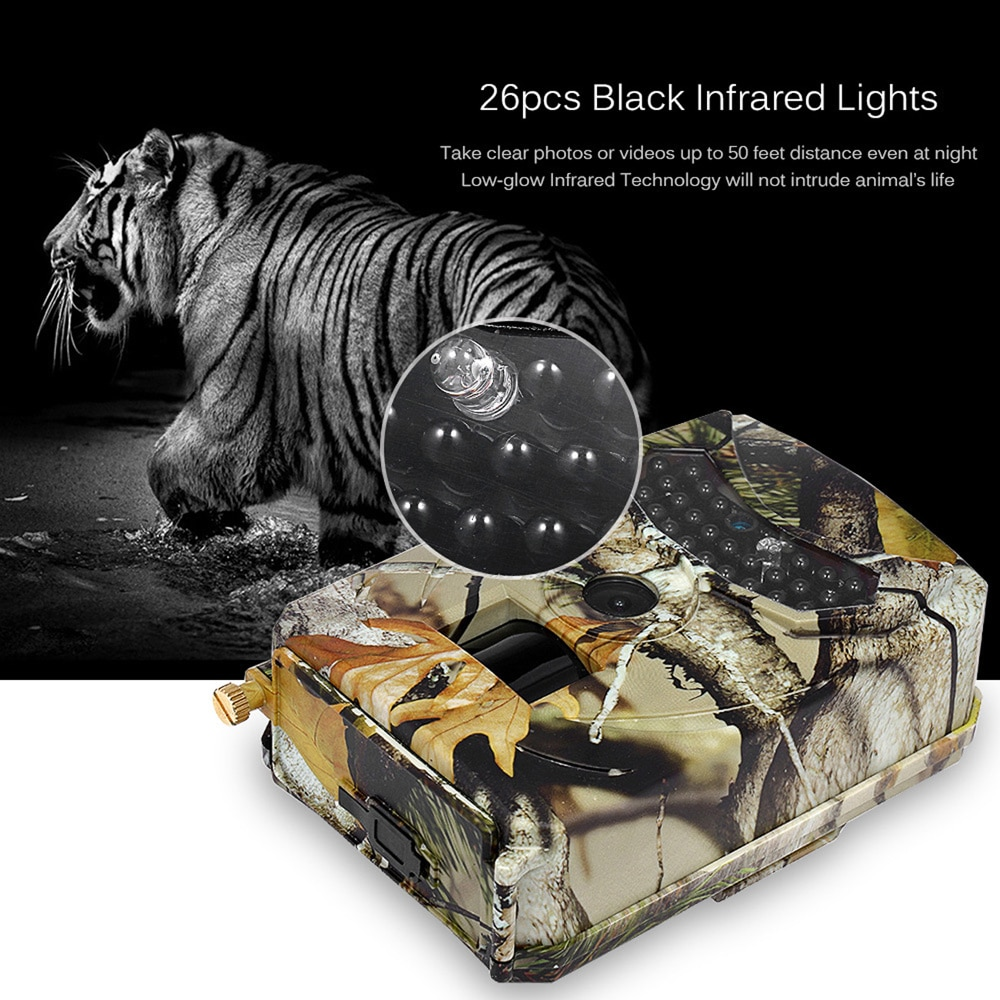 mini trail game camera night vision 1080p 12mp waterproof hunting camera outdoor wild photo traps with ir leds range up to 65ft Outdoor Hunting Trail Camera 12MP 1080P HD Wild Animal Waterproof Wildlife Monitor Infrared Cam Night Vision Photo Traps