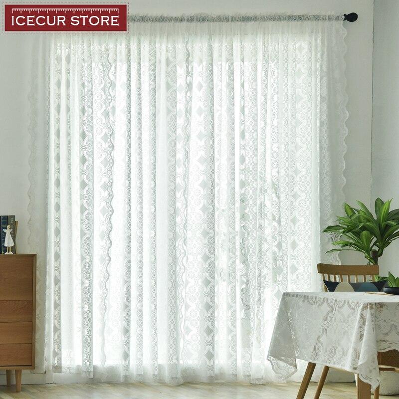 Cortinas de tul modernas Pastoral ICECUR para dormitorio sala de estar de encaje Jacquard blanco cortinas transparentes para ventana de cocina Puerta de tul