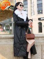 winter 2020 new fox fur sheep skin down jacket womens long cross knee genuine leather coat fur coat