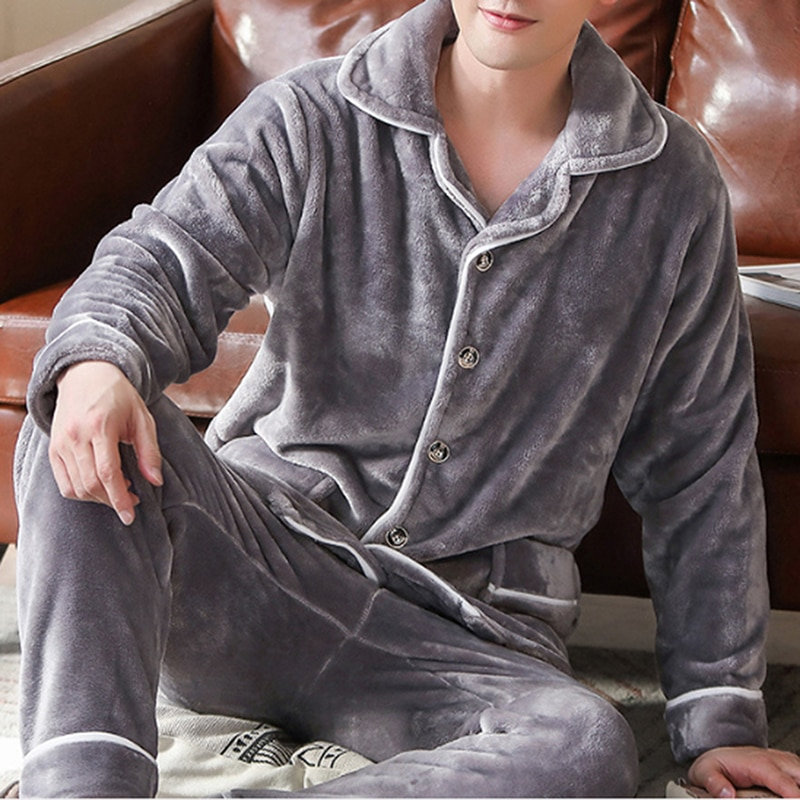 2020 Spring Thick Warm Blue Flannel Pajama Sets For Men Long Sleeve Coral Velvet Sleepwear Suit Loungewear Homewear Home Clothes