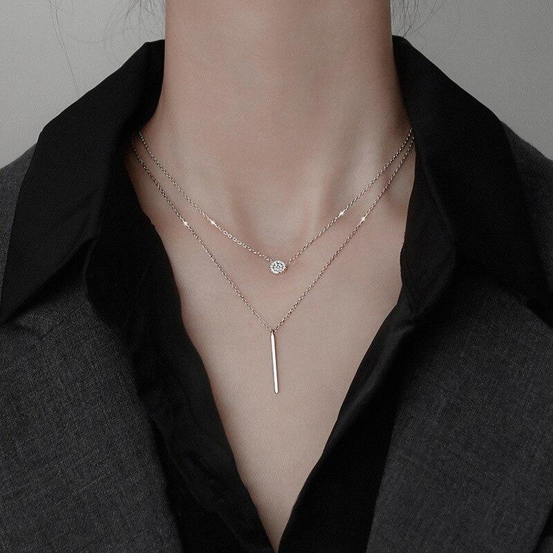 Ожерелье-из-стерлингового-серебра-925-пробы-Двухслойное-круглое-Сверкающее-длинное-ожерелье-с-подвеской-из-циркония-для-девочки-ювелирное-и