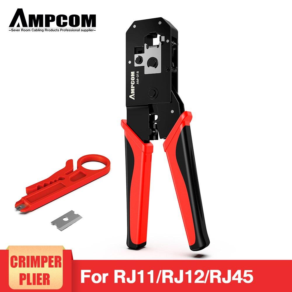 Ferramenta de Friso Rj45 e 6p Ampcom Ethernet Rede Cabo Crimper Cortador Stripper Alicate Modular 8p Rj12 Rj11 Rj45 Lan