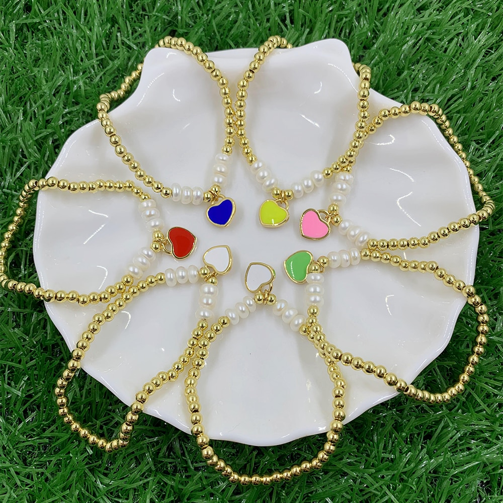 Hot Fashion Unlimited Bangle Bracelets Charm Heart Simulated Pearl  Beaded Bracelet For Women Jewelry