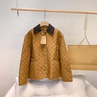 2021 new winter classic retro versatile trendy fashion simplicity diamond thin jacket cotton padded womens lapel coat